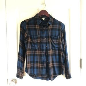Forever 21 Blue and Brown Plaid Button Down